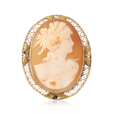 C. 1960 Vintage Shell Cameo Pin in 14kt Two-Tone Gold, , default