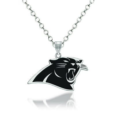 """Sterling Silver NFL Carolina Panthers Enamel Pendant Necklace. 18"""", , default"""