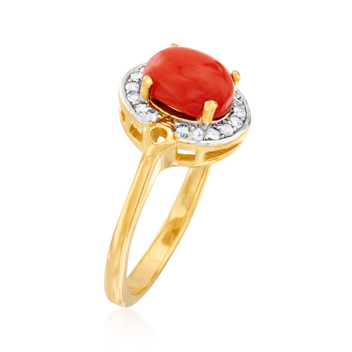 Orange Coral and .11 ct. t.w. Diamond Ring in 18kt Gold Over Sterling