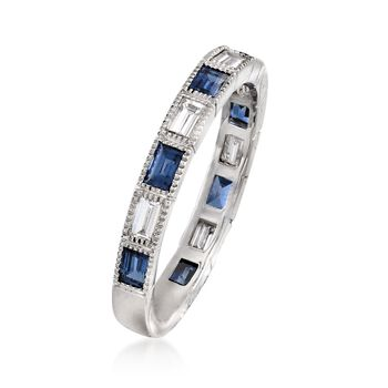 .70 ct. t.w. Sapphire and .46 ct. t.w. Diamond Ring in 14kt White Gold, , default