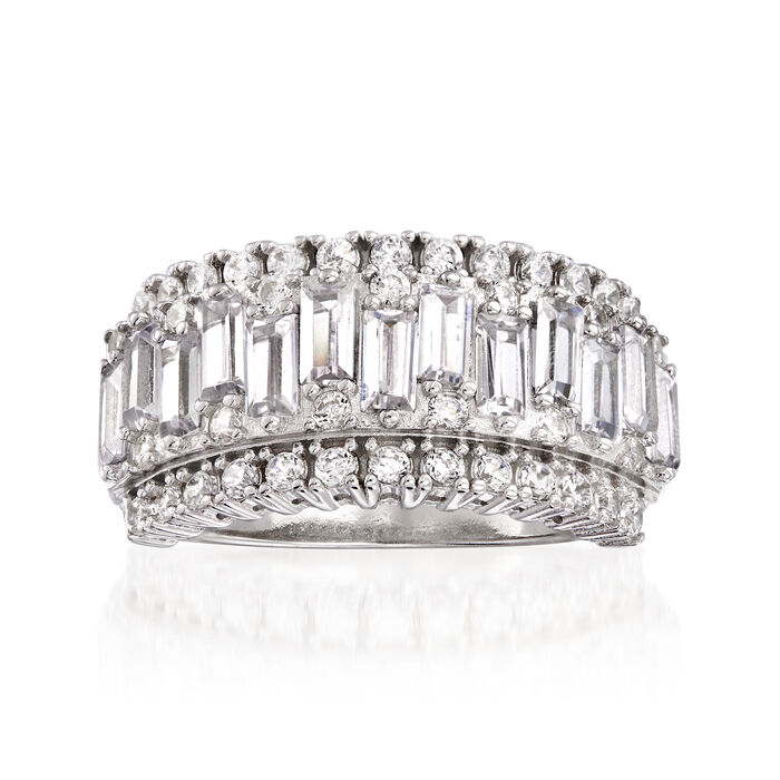 2.40 ct. t.w. Baguette and Round CZ Ring in Sterling Silver, , default