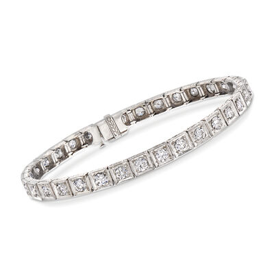 C. 1950 Vintage 4.00 ct. t.w. Diamond Tennis Bracelet in Platinum, , default