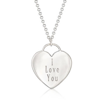 "Sterling Silver Heart-Shaped ""I Love You"" Pendant Necklace, , default"