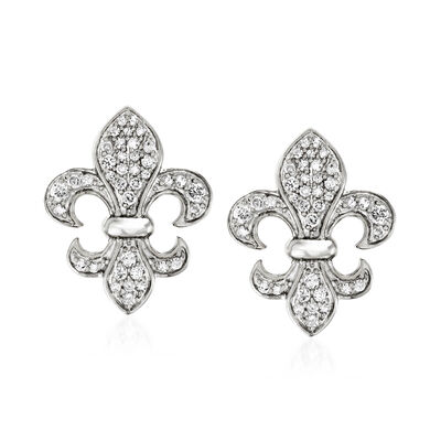 .33 ct. t.w. Diamond Fleur-De-Lis Earrings in Sterling Silver