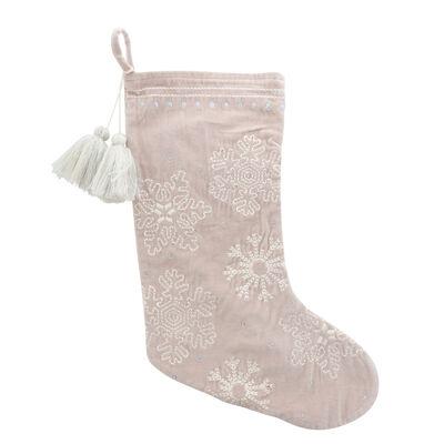 Cream and White Snowflake Velvet Holiday Stocking
