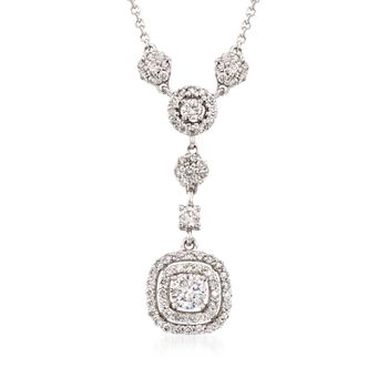 """.87 ct. t.w. Diamond Drop Necklace in 14kt White Gold. 16.5"""", , default"""