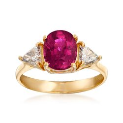 C. 1990 Vintage 2.05 Carat Rubellite and .75 ct. t.w. Diamond Ring in 14kt Yellow Gold. Size 7, , default