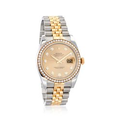 C. 2015 Certified Pre-Owned Rolex Datejust Men's 36mm Automatic Diamond Watch in Two-Tone, , default