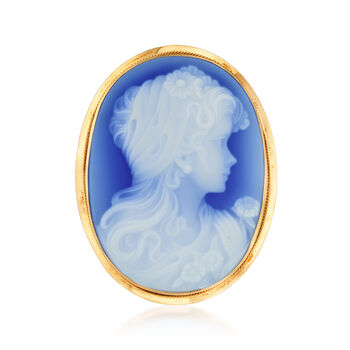 C. 1980 Vintage Blue Agate Cameo Pin/Pendant in 18kt Yellow Gold