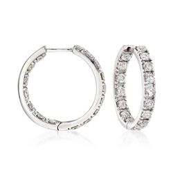"2.00 ct. t.w. Diamond Inside-Outside Hoop Earrings in 14kt White Gold. 3/4"", , default"