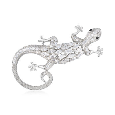 2.71 ct. t.w. CZ Gecko Pin in Sterling Silver