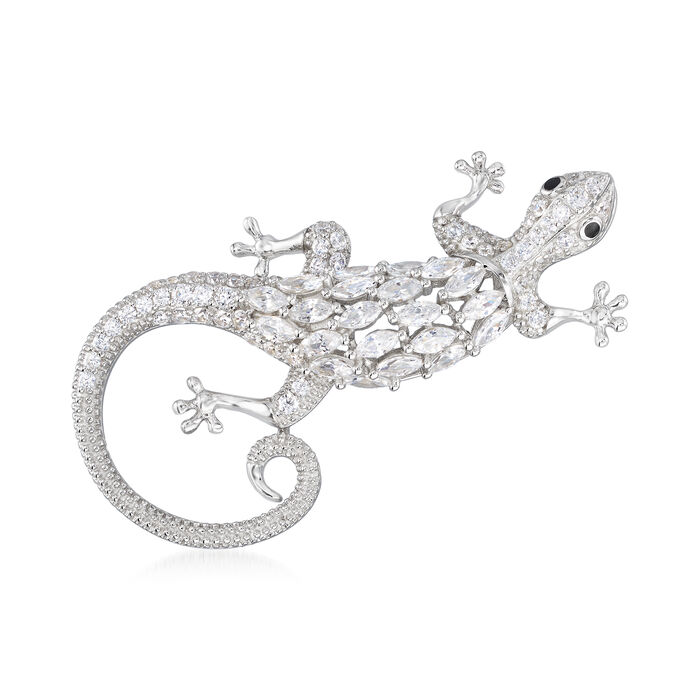 2.71 ct. t.w. CZ Gecko Pin in Sterling Silver, , default