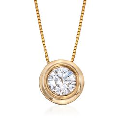 ".75 Carat Bezel-Set Diamond Solitaire Necklace in 14kt Yellow Gold. 18"", , default"