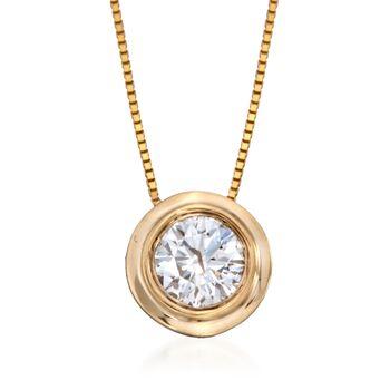 ".75 Carat Bezel-Set Diamond Solitaire Necklace in 14kt Yellow Gold. 18"", , default"