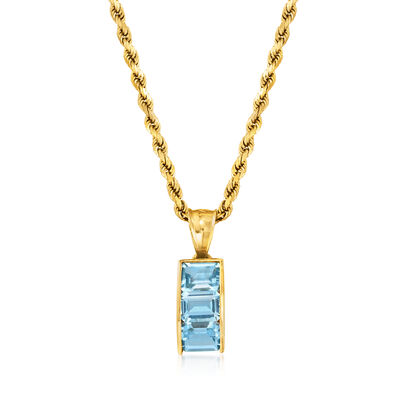 C. 1980 Vintage 3.00 ct. t.w. Sky Blue Topaz Pendant Necklace in 14kt Yellow Gold