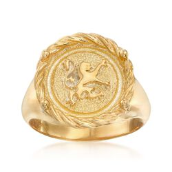 Italian 18kt Gold Over Sterling Gryphon Ring, , default