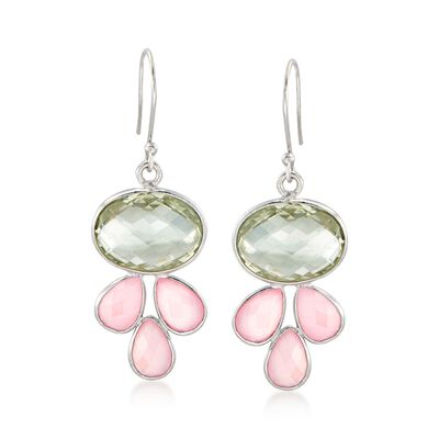 Rose Quartz and 13.00 ct. t.w. Green Prasiolite Drop Earrings in Sterling Silver, , default