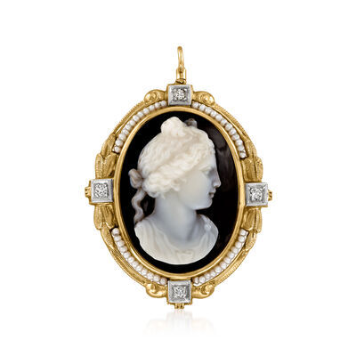 C. 1950 Vintage Seed Pearl, Black Agate and .12 ct. t.w. Diamond Cameo Pin/Pendant in 14kt Yellow Gold