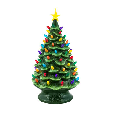 """Mr. Christmas Green Nostalgic Tree with  Multicolored Lights 24""""H, , default"""
