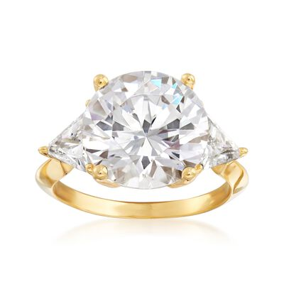 7.50 ct. t.w. Round and Trillion-Cut CZ Ring in 18kt Gold Over Sterling