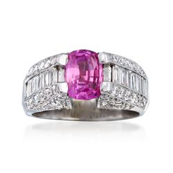 C. 1990 Vintage 1.66 Carat Pink Sapphire and 1.85 ct. t.w. Diamond Ring in 18kt White Gold. Size 6.5, , default