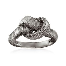 Italian Sterling Silver Textured Knot Ring in Black, , default