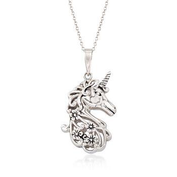 "Sterling Silver Unicorn Pendant Necklace With Black Enamel. 18"", , default"