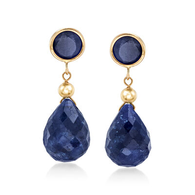 5.50 ct. t.w. Sapphire Drop Earrings in 14kt Yellow Gold , , default