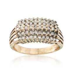 C. 1980 Vintage 1.00 ct. t.w. Diamond Five-Row Ring in 14kt Yellow Gold. Size 9.75, , default