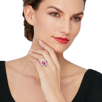 3.75 Carat Ruby and 1.35 ct. t.w. Diamond Ring in 18kt Yellow Gold, , default