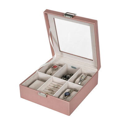 """Mele & Co. """"Iona"""" Metallic Rose Gold Faux Leather Jewelry Box, , default"""