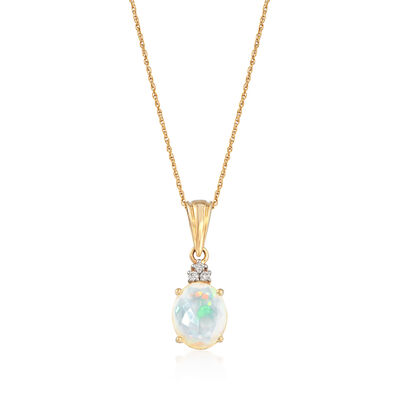 11x9mm Ethiopian Opal Pendant Necklace with Diamond Accents in 14kt Yellow Gold, , default