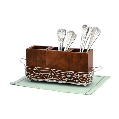 Wood and Metal 4-pc. Flatware Caddy, , default