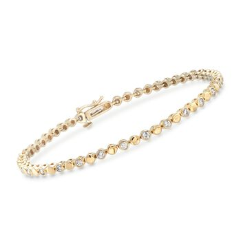 1.00 ct. t.w. Bezel-Set Diamond Bracelet in 14kt Yellow Gold, , default