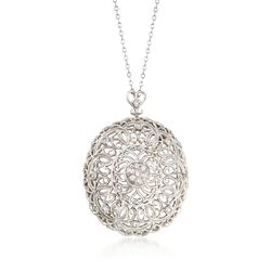 "C. 1990 Vintage .50 ct. t.w. Diamond and 14kt White Gold Filigree Pin Pendant Necklace. 18"", , default"