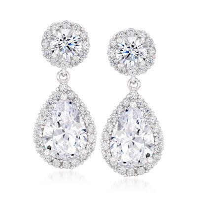 3.90 ct. t.w. Pear-Shaped CZ Drop Earrings in Sterling Silver, , default