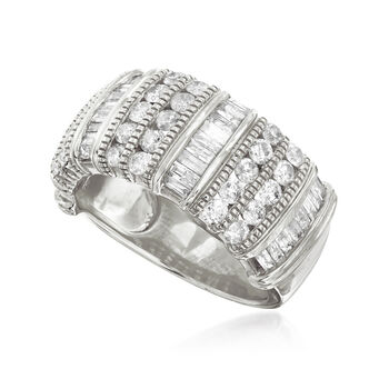 1.50 ct. t.w. Baguette and Round Diamond Ring in Sterling Silver