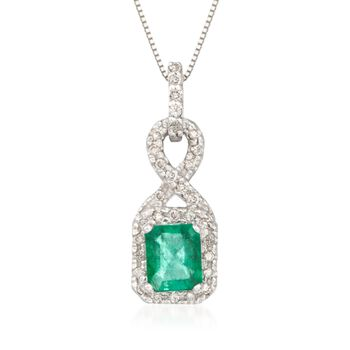 """.85 Carat Emerald and .20 ct. t.w. Diamond Pendant Necklace in 14kt White Gold. 16"""", , default"""