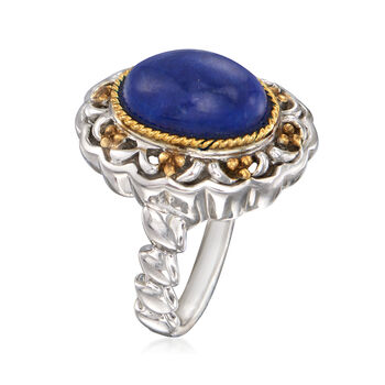 12x10mm Lapis Ring in 14kt Yellow Gold and Sterling Silver. Size 6