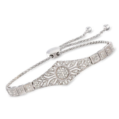 .50 ct. t.w. Diamond Floral Openwork Bolo Bracelet in Sterling Silver, , default