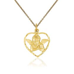 "14kt Yellow Gold Angel in Heart Pendant Necklace. 18"", , default"