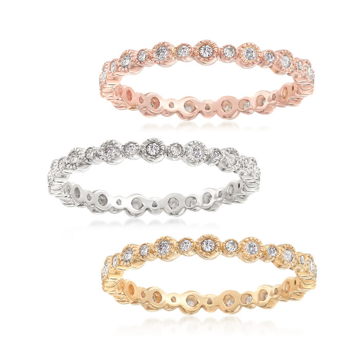 .75 ct. t.w. Diamond Jewelry Set: Three Eternity Bands in 14kt Tri-Colored Gold, , default