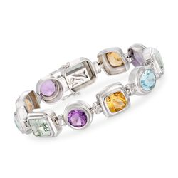 28.85 ct. t.w. Multi-Stone Bracelet With Diamond Accentsin Sterling Silver, , default
