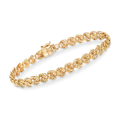 14kt Yellow Gold Rosette-Link Bracelet with Magnetic Clasp
