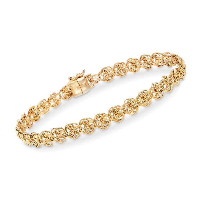 """14kt Yellow Gold Rosette-Link Bracelet with Magnetic Clasp. 8"""""""
