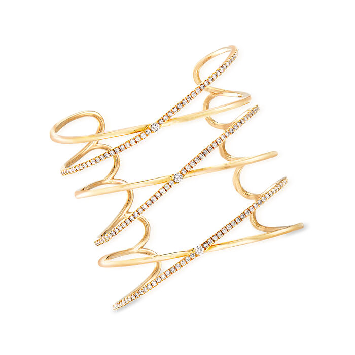 2.50 ct. t.w. Diamond Large Crisscross Cuff Bracelet in 14kt Yellow Gold