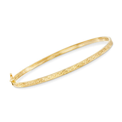 Italian 14kt Yellow Gold Greek Key Bangle Bracelet, , default
