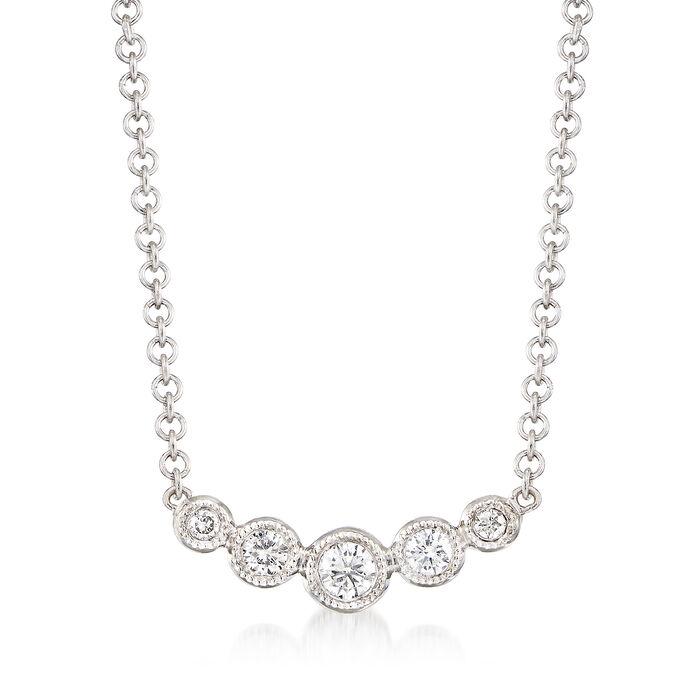 Gabriel Designs .10 ct. t.w. Graduated Diamond Necklace in 14kt White Gold