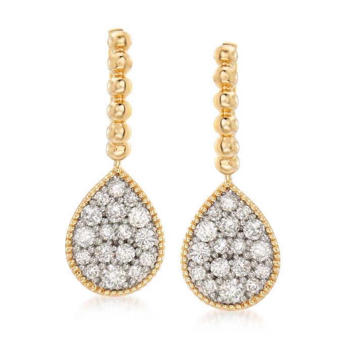 1.00 ct. t.w. Diamond Cluster Drop Earrings in 14kt Yellow Gold, , default