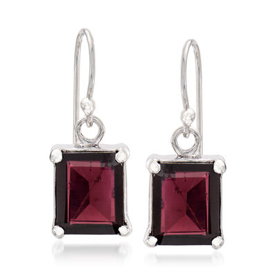 6.50 ct. t.w. Emerald-Cut Garnet Drop Earrings in Sterling Silver